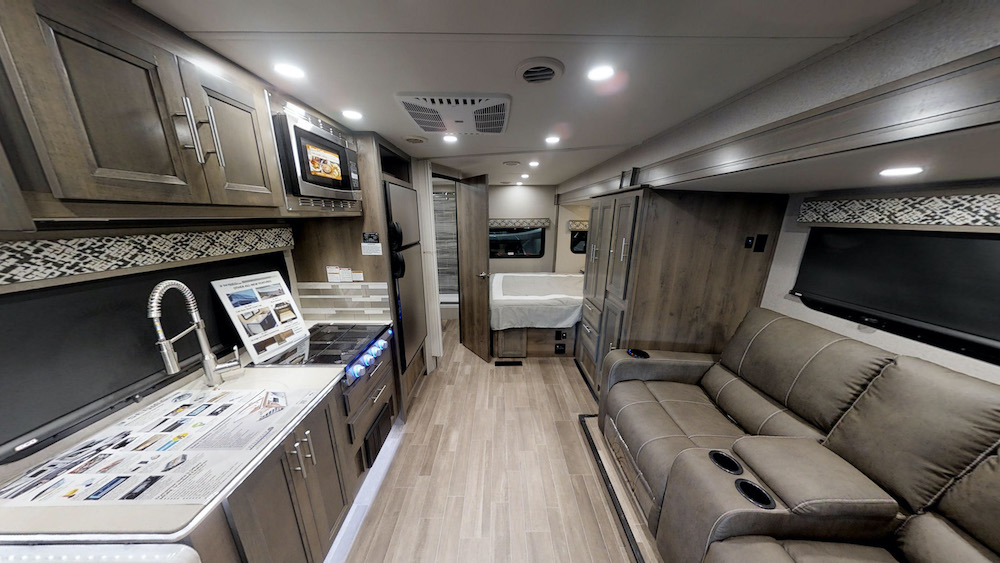 Interior of the Dynamax Isata 3 24FW Class C motorhome.