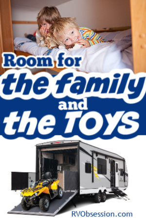 toy hauler travel trailer for taking the family and the toys
