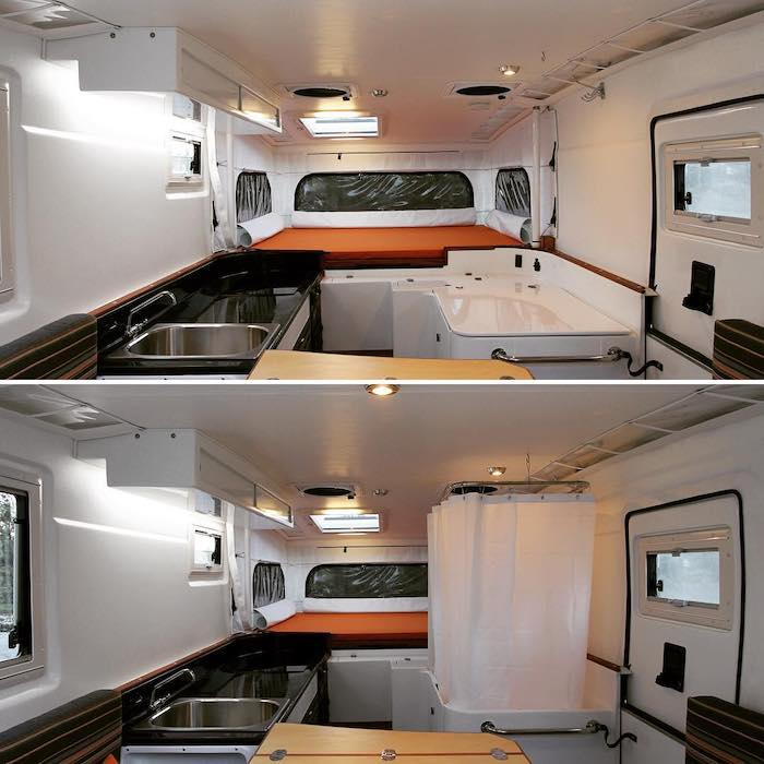 2 photos of the interior of a Nimbl truck camper. The top photo shows the shower hidden away, while the button photo shows the shower unfolded.
