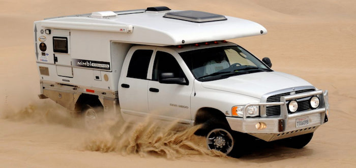 Exterior of the Nimbl slide on truck camper