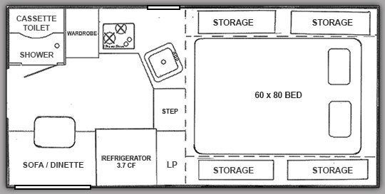Floor plan of a Northstar 650SC Pop Up Truck Camper
