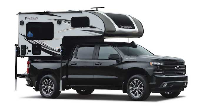 Palomino Backpack HS-750 truck camper on a black truck