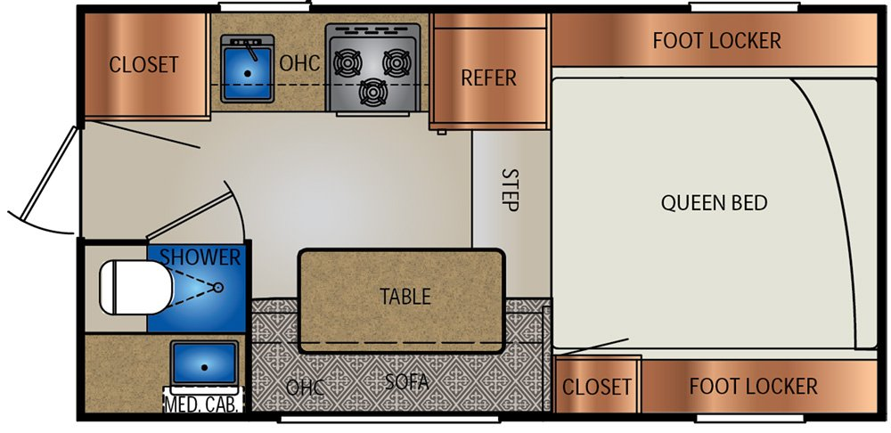 Travellite RV slide on truck camper floor plan