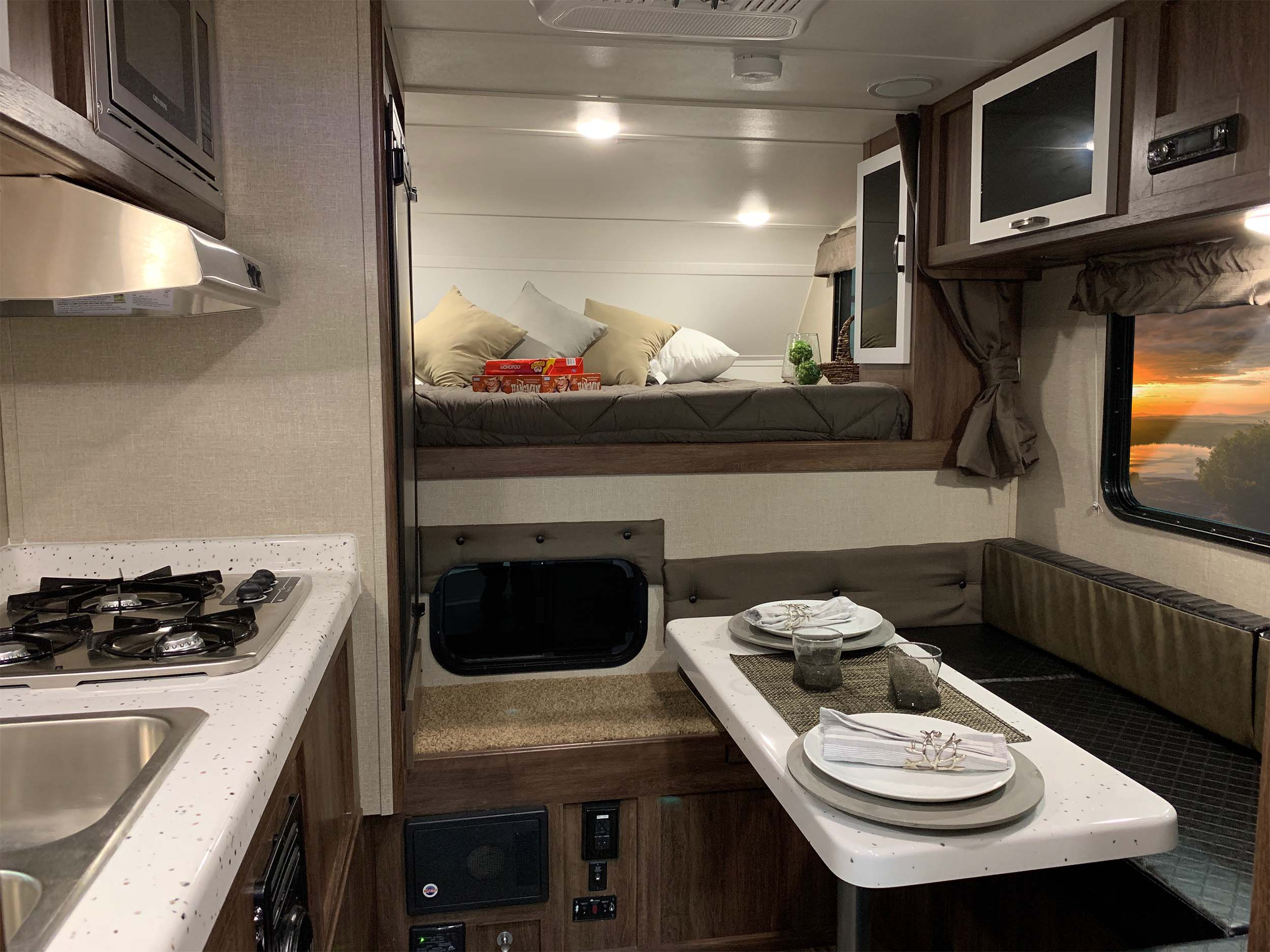 Interior of a Travellite RV slide on truck camper