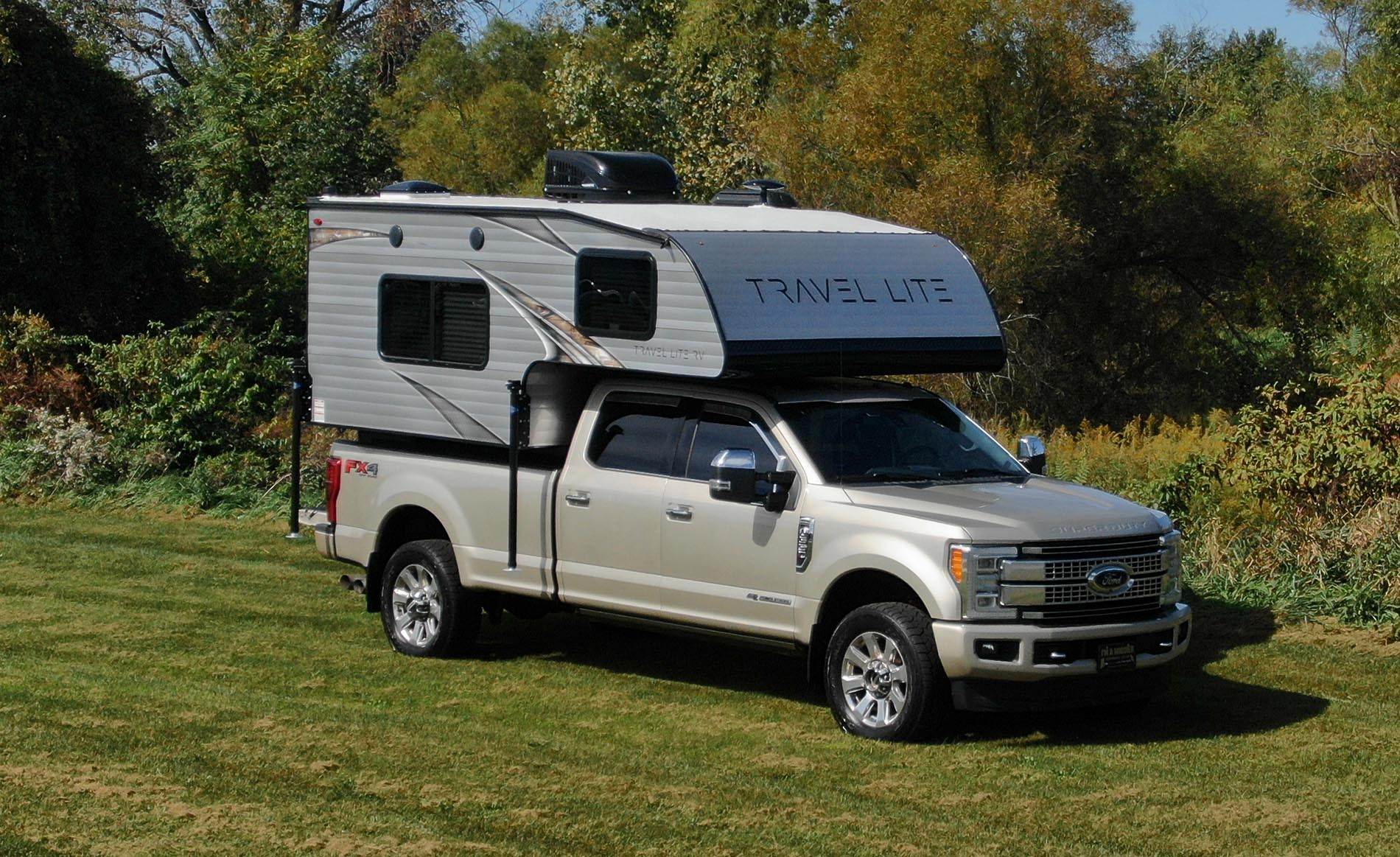 Exterior of a Travellite RV slide on truck camper