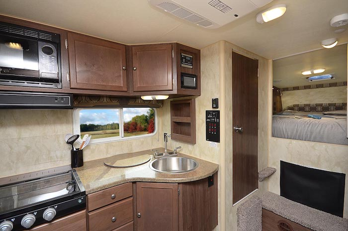 Interior of a Wolf Creek 840 truck camper