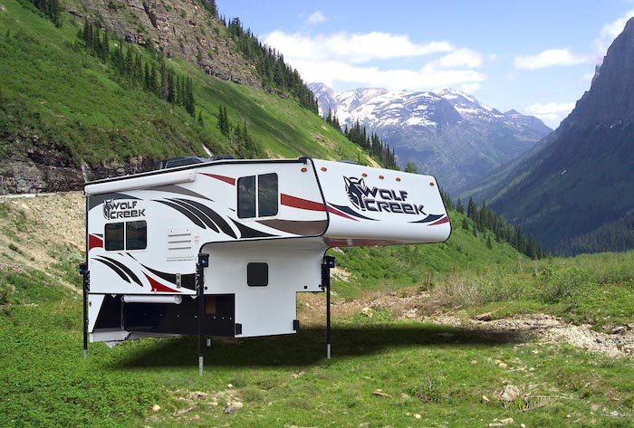 Exterior of a Wolf Creek 840 truck camper