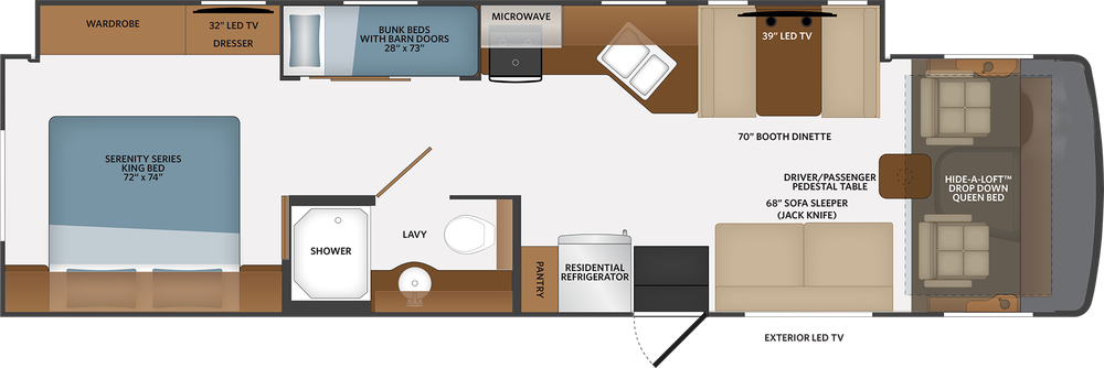 Fleetwood RV Flair 34J floorplan