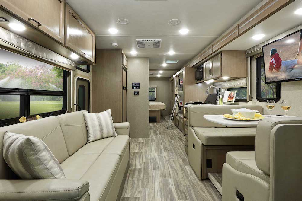 Interior view of a Thor A.C.E Class A motorhome with bunks