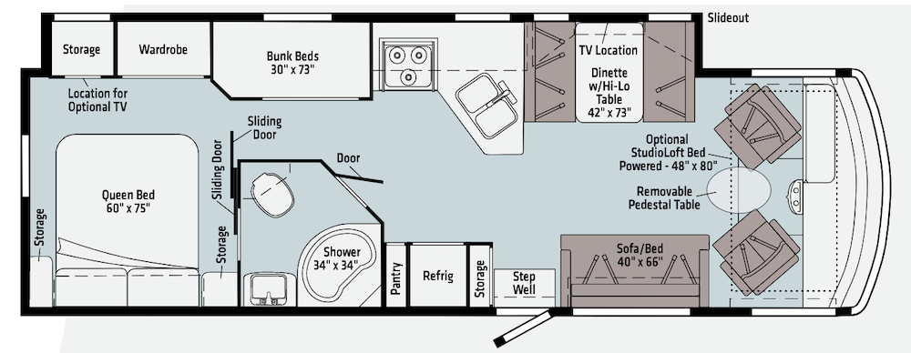 Floorplan of Winnebago Vista 31B RV showing bunk beds