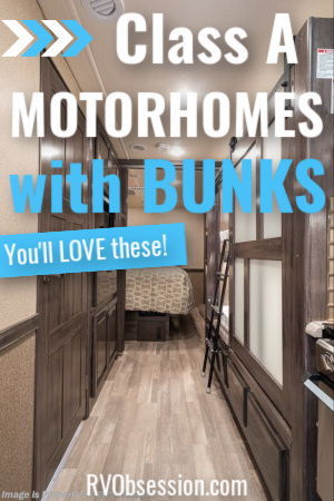RV bunk beds in a hallway with text overlay 'Class A motorhomes with bunks'