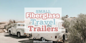 vintage fiberglass travel trailer towed behind vintage truck