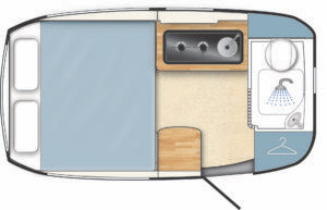 Floorplan of UK fibreglass caravan by Barefoot caravans