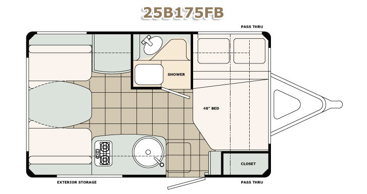Floorplan of a bigfoot fiberglass travel trailer