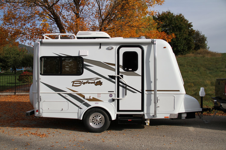 Exterior of a bigfoot fiberglass travel trailer