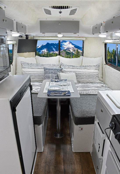Modern interior of a Casita travel trailer