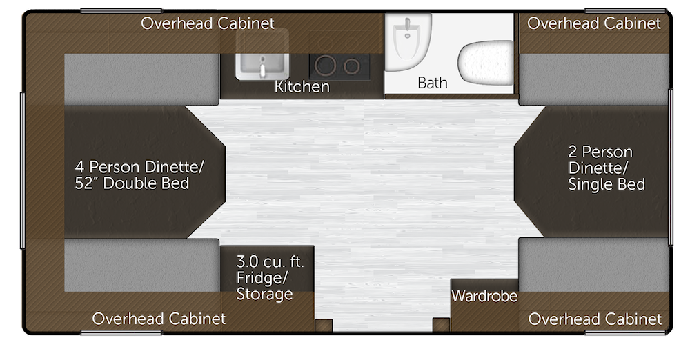 Floorplan of a small fiberglass travel trailer by Oliver