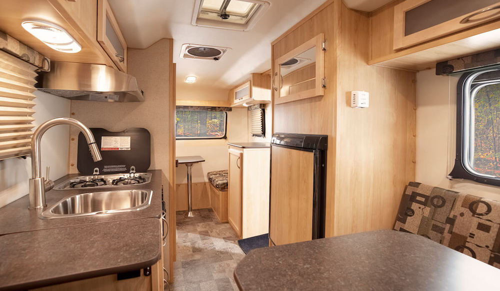 Interior view of a fiberglass travel trailer