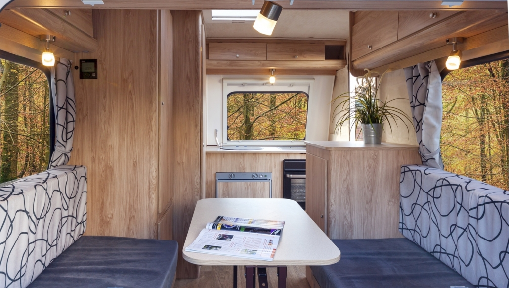 Interior of a small fibreglass caravan