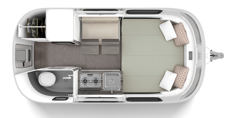 Floorplan of Airstream Next fiberglass camper