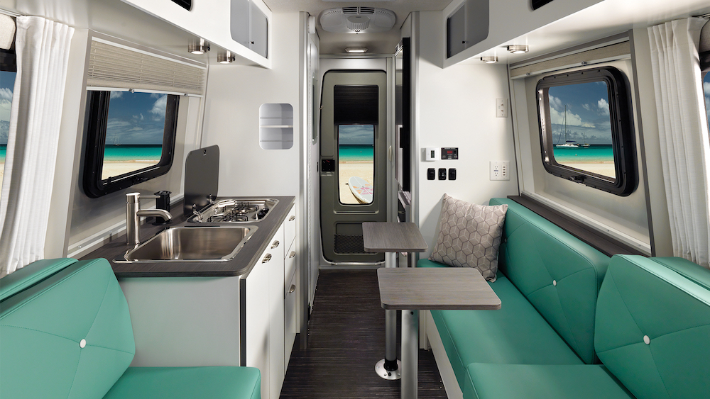 Interior view of a modern small travel trailer