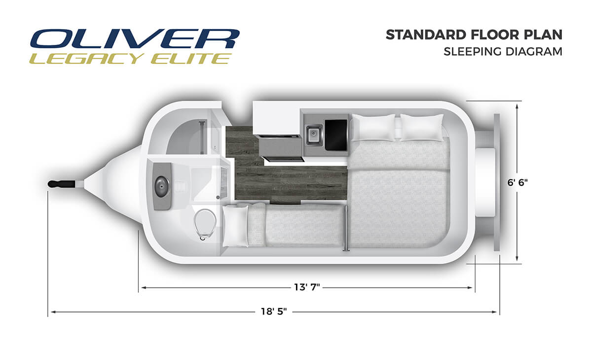 Floorplan of a Oliver fiberglass Travel Trailer