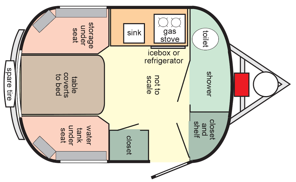 Floorplan of white Scamp fibreglass Travel Trailers