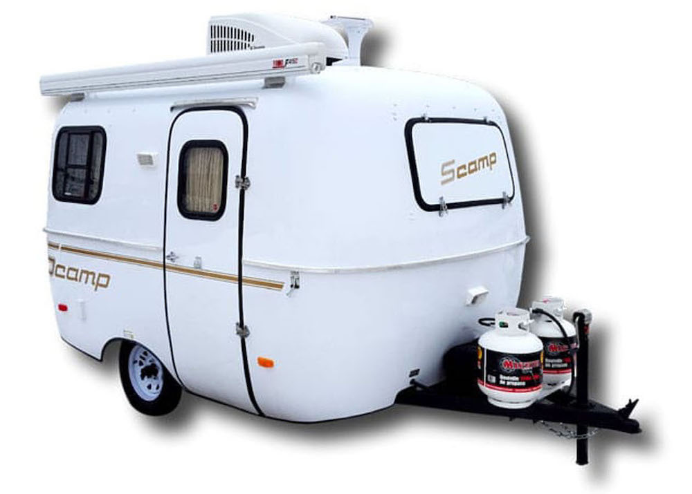 Exterior of white Scamp fibreglass Travel Trailers