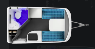 Floorplan of a Wingamm Rookie fiberglass travel trailer