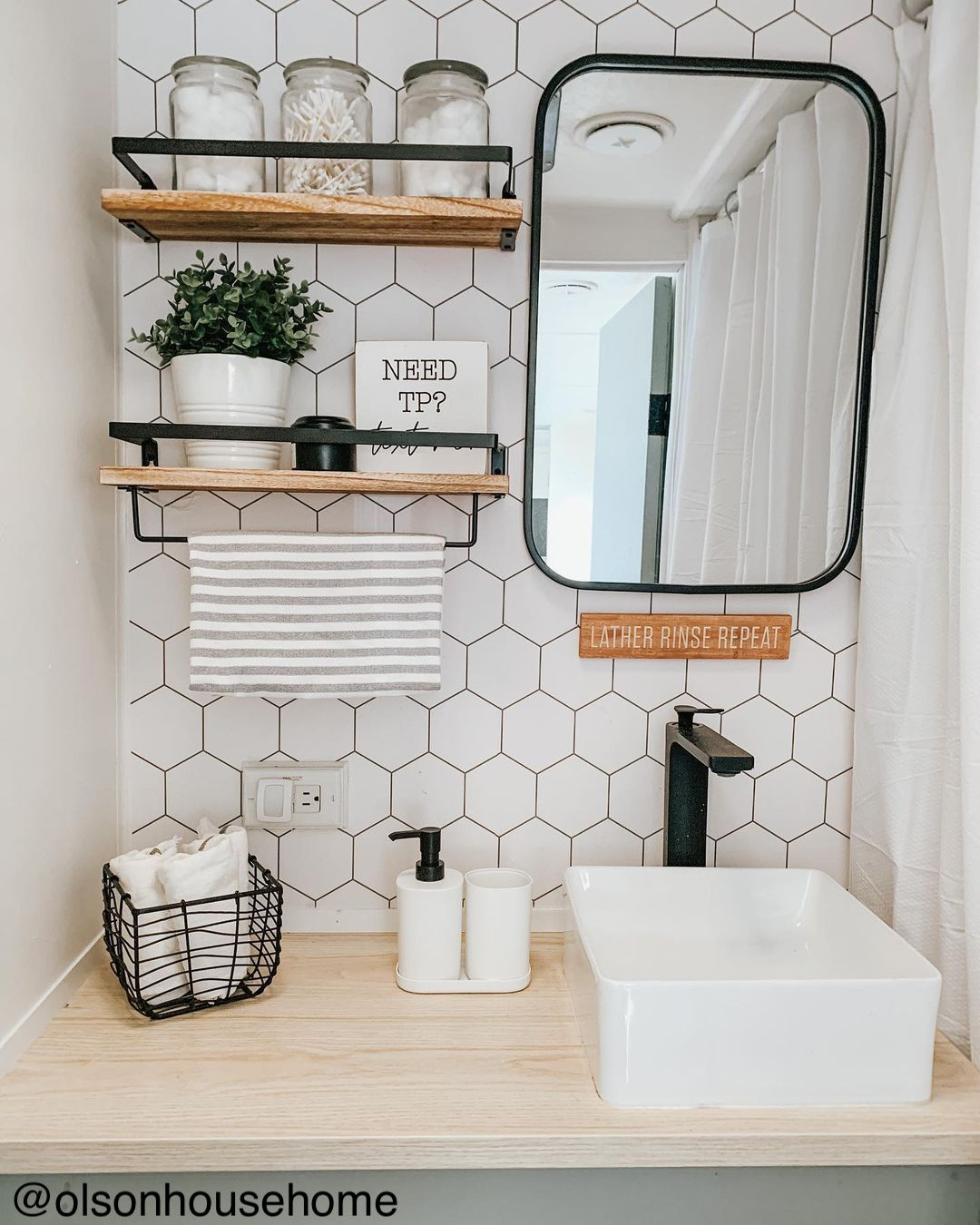 Chic renovation of a travel trailer bathroom