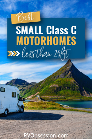 Class C motorhome in front of a soaring mountain peak.