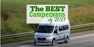 Grey campervan on road. Text overlay: The best campervans of 2021.