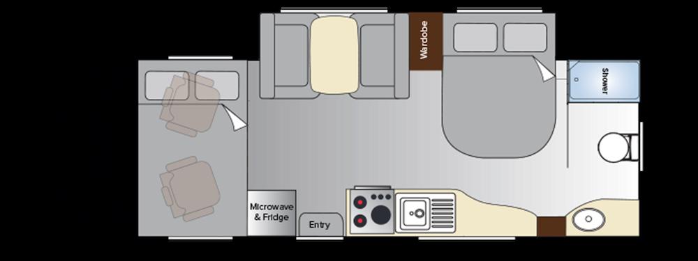 Floor plan of an Exterior of an Avida Birdsville Class C motorhome.