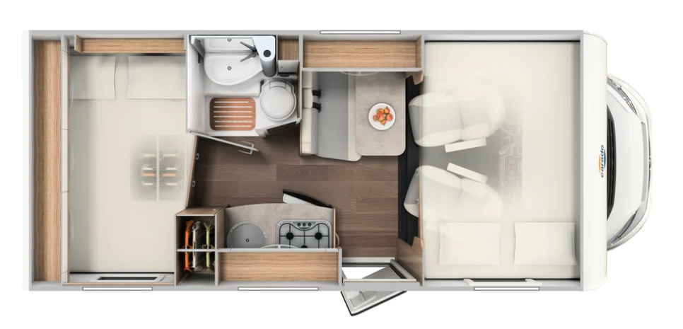 Floor plan of Carado A-132 Class C motorhome.
