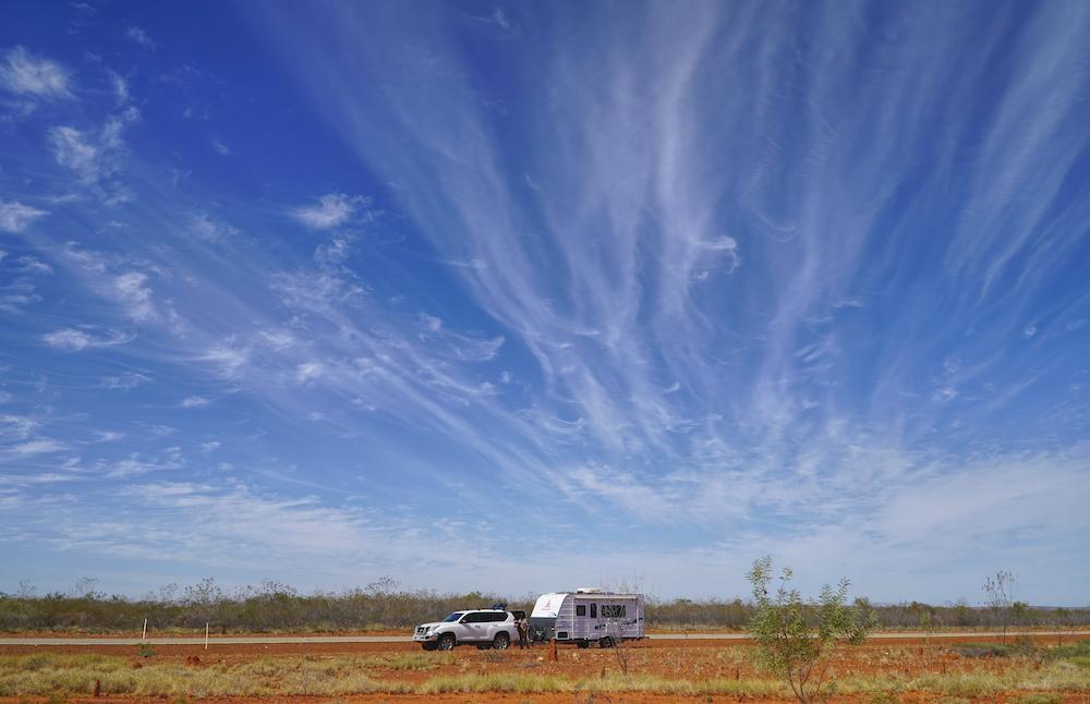 Car and caravan in outback Australia.