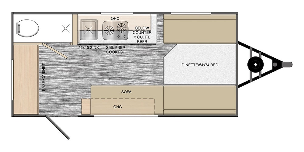 Rove Lite Ultra Lightweight travel trailer floor plan.