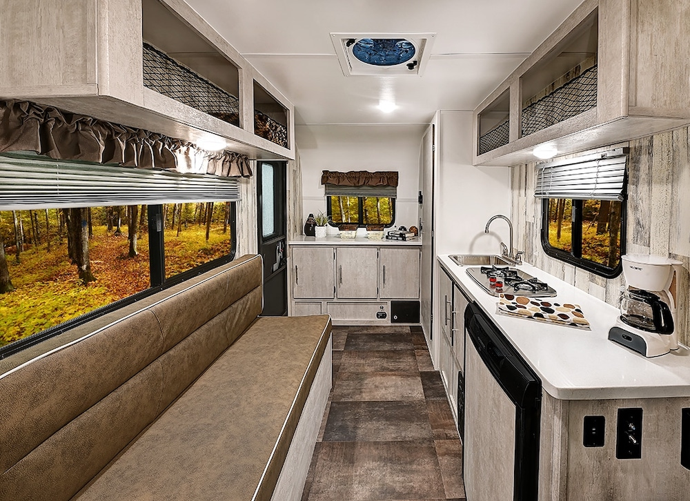 Interior of a Rove Lite Ultra Lightweight travel trailer.