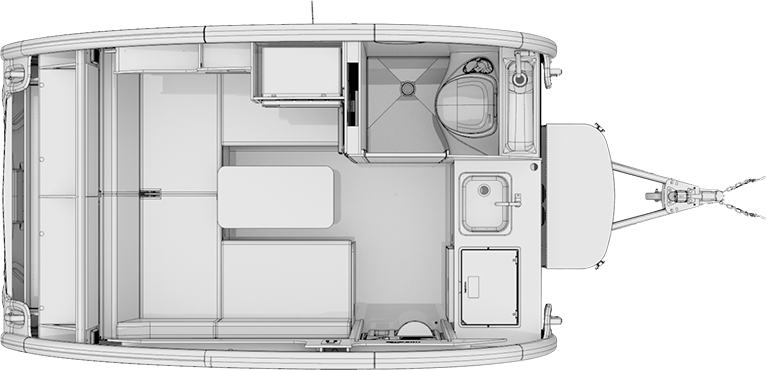 Greyscale render of nüCamp TAB S floor plan.