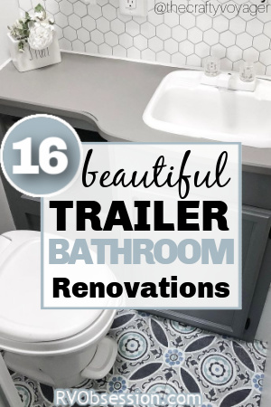 Small RV bathroom with grey and blue decor, with text overlay: 16 beautiful trailer bathroom renovations.