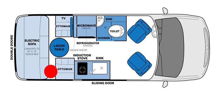Floor plan of Pleasure_Way Ascent TS Class B RV.
