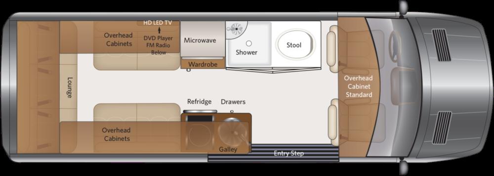 Fleetwood Irok Class B campervan layout