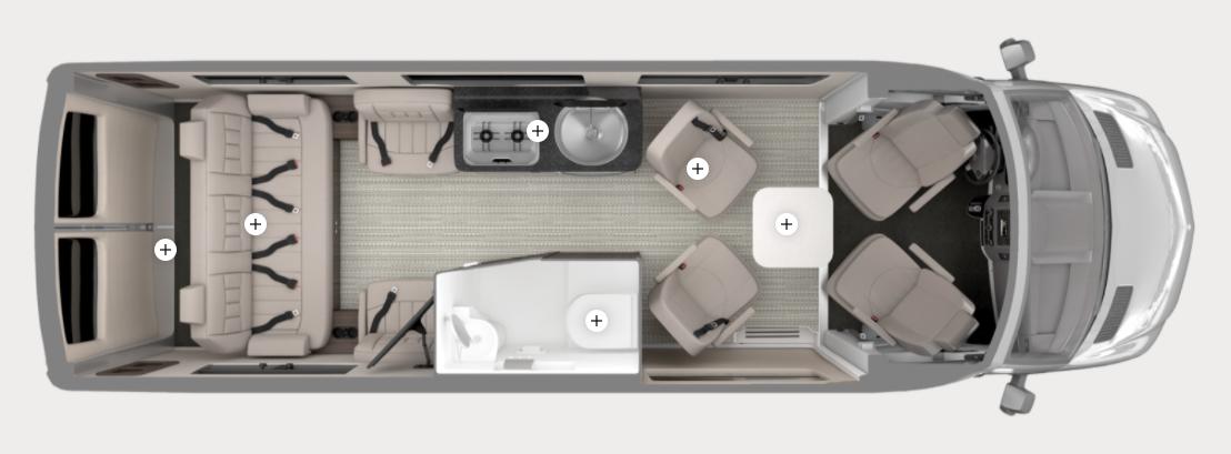 Airstream Interstate camper van floor plan.
