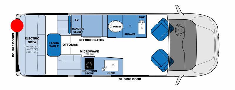 Floor plan of Pleasure_Way Ontour 2.2 Class B RV.