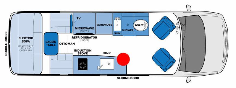 Floor plan of Pleasure_Way Plateau TS Class B RV.