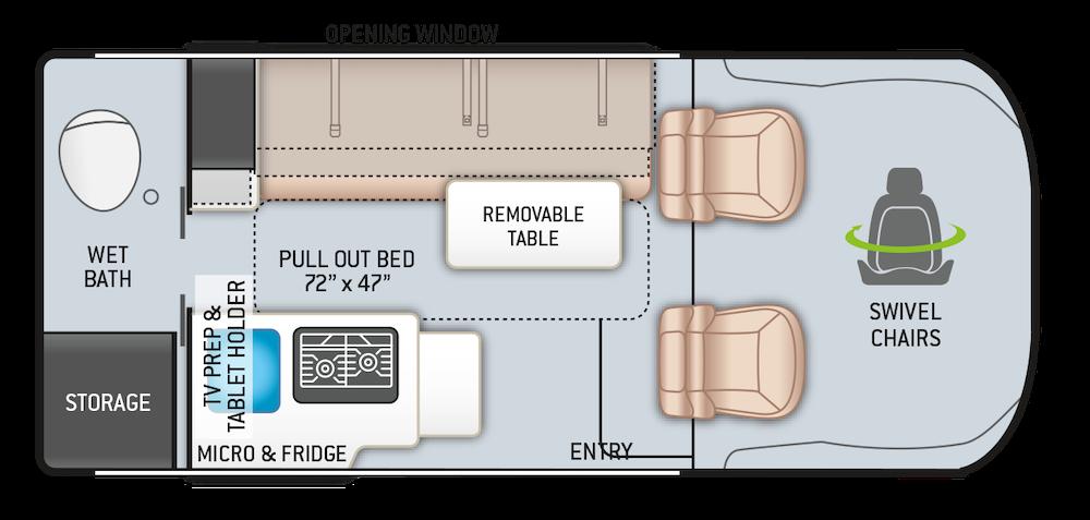 Thor Rize 18m small Class B RV floorplan.