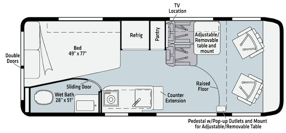 Winnebago Class B motorhome floor plans.
