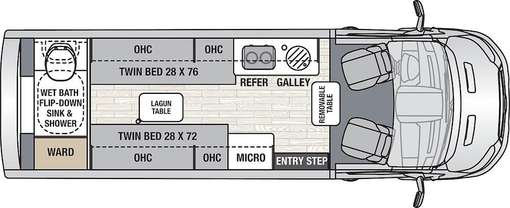 Coachmen Beyond 22RB Class B motorhome floor plan.