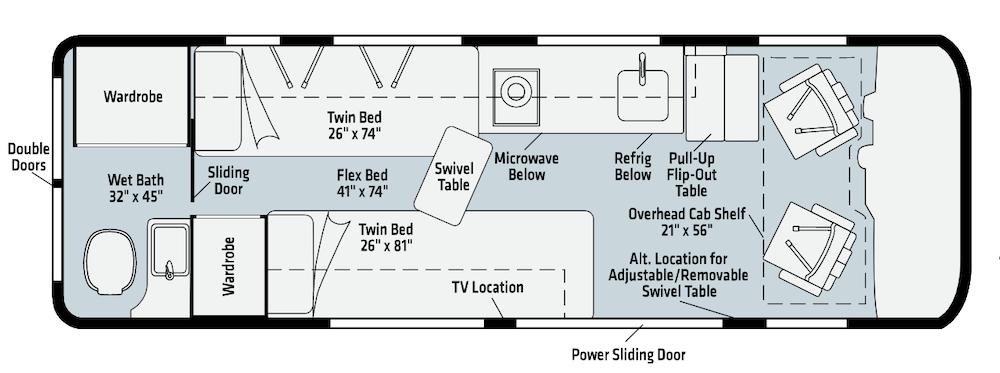 Winnebago Boldt class b motorhome floor plans.