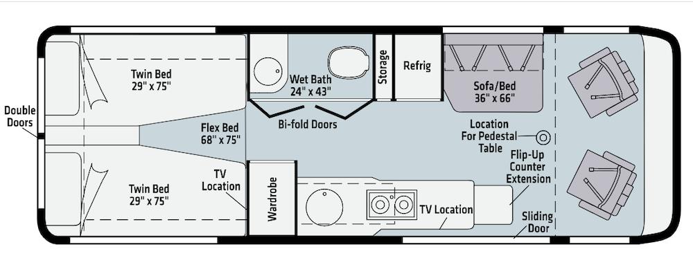 Floor plans of Winnebago Class B.