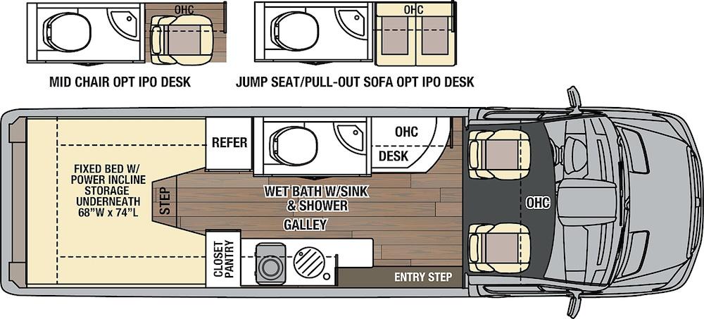 Coachmen Galleria Class B motorhome floor plan.
